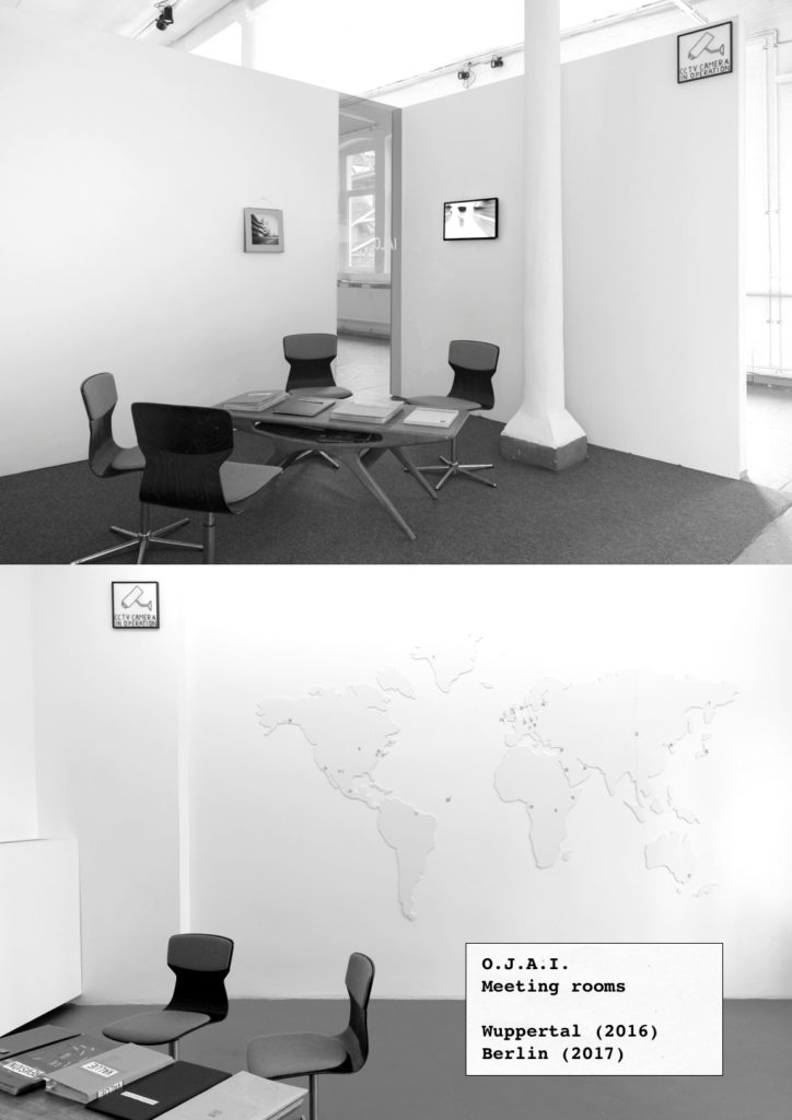 O.J.A.I. reading rooms (2017) at Grölle Pass Projects, Wuppertal (top) and Laura Mars Gallery, Berlin (bottom)