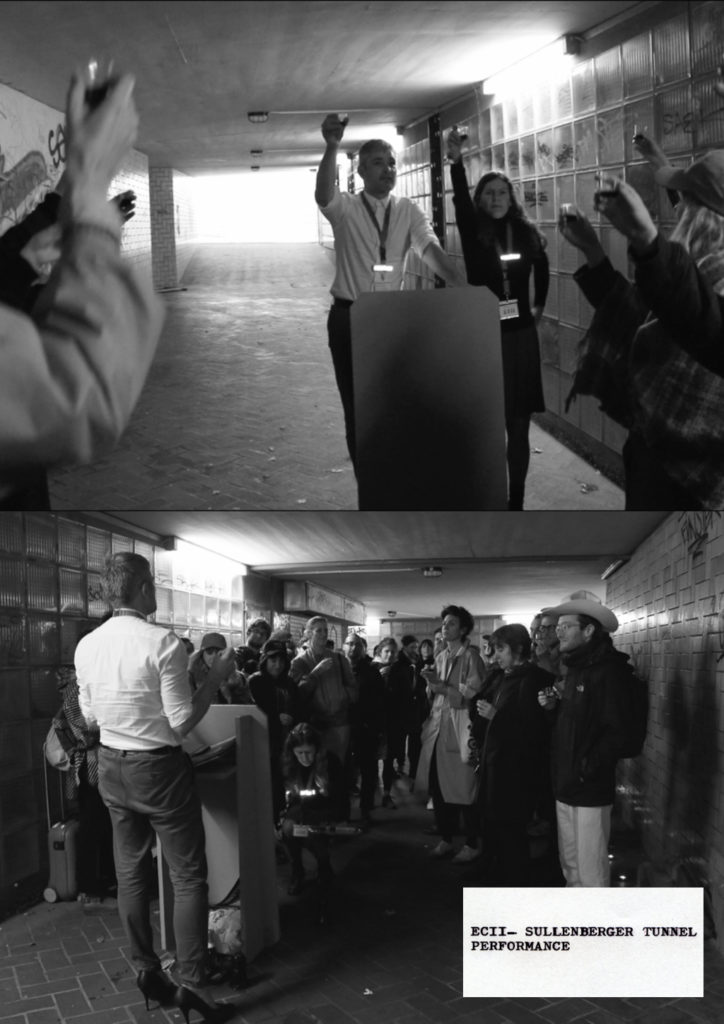 Sullenberger Tunnel (2019), performance in a defamed pedestrian tunnel, Wuppertal Germany